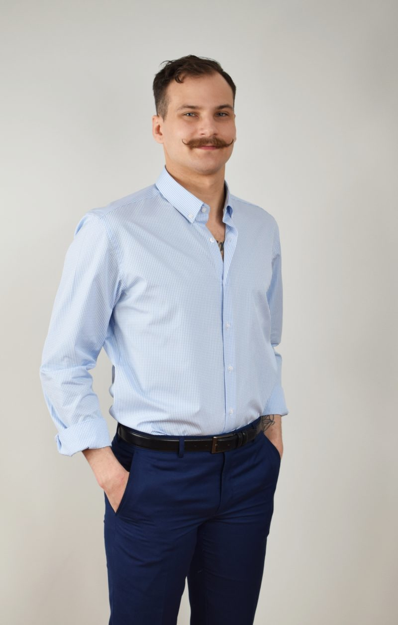 niebieska koszula męska na długi rękaw