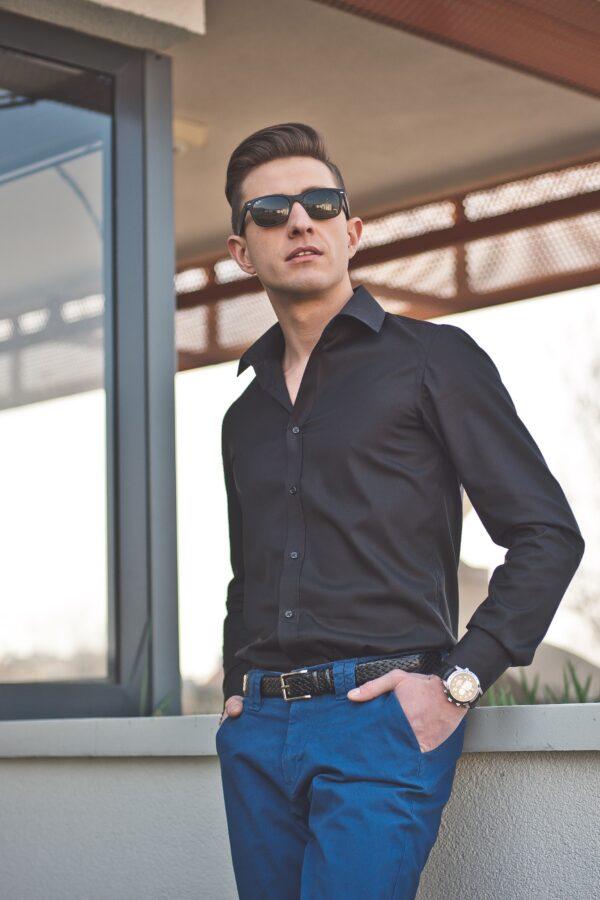 czarna koszula męska na długi rękaw