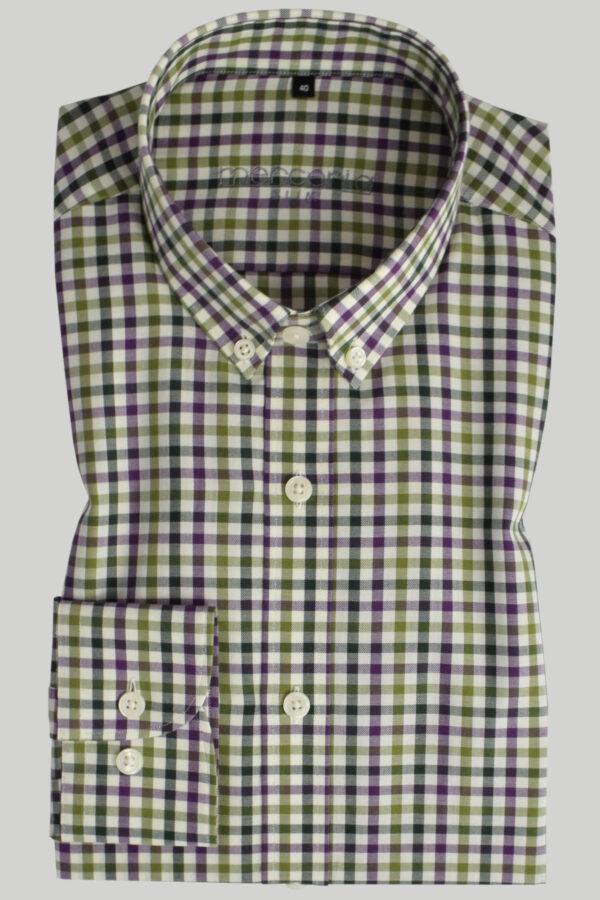 koszula zielona w kratkę - zdjęcie frontu
