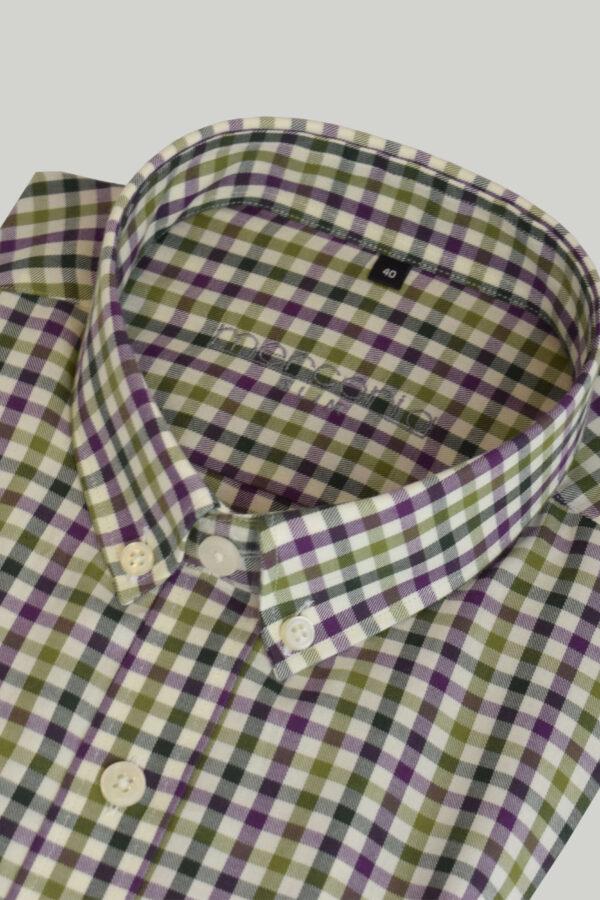 koszula zielona w kratkę - zdjęcie skosu