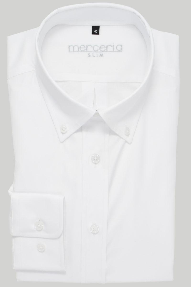 biała męska koszula z guzikami